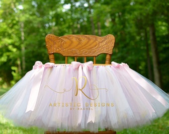 Pink And Gold First Birthday Banner High Chair Tutu Girl Glitter White Ivory Decorations Garland One 1st Cake Smash Tutu Rose Ribbon