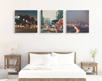 sale 50% off Los Angeles photographs, set of 3, discounted print set, Sparkle, DTLA, Hollywood, bokeh photography, night photos
