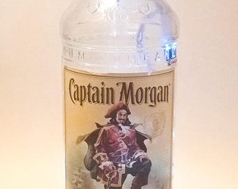 Captain Morgan Rum 750mL - Recycled Rum Bottle - Rum Lovers - Liquor Bottle With Lights Inside - Lighted Recycled Bottle - Green Gifts