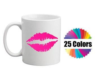 Coffee Mug Cup Decal Lips Kiss Lipstick Custom DIY Valentines Day Gift Yeti Tumbler Rambler RTIC Ozark Car Window 25 Colors
