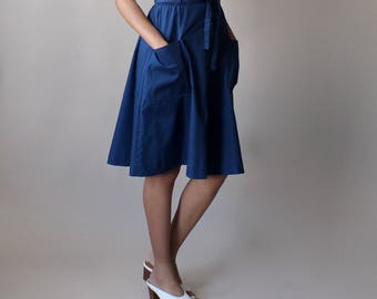 navy a line skirt | elastic waist with pockets | 1980s xs-small