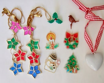 Vintage Christmas Decorations and Fridge Magnets - 1970s & 1980s Kitsch Plastic Xmas Ornaments - Snowman, Tree, Candle