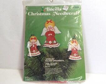 Vintage Bucilla Needlecraft Kit 2829/ Jeweled Christmas Angels Topper & Felt Ornaments, Unopened