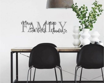 Family with First names Personalized Wall Decor Vinyl Word Lettering Decals Custom Stickers