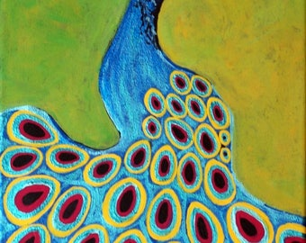 """Original Showy Peacock Bird painting 11""""x14"""" framed 12.25"""" X 15.25"""" zoo bird, feathers with a eye, bright turquoise color"""
