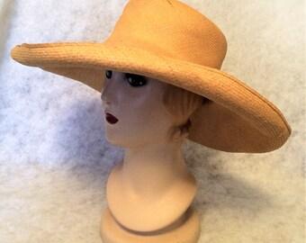 Antique Edwardian c 1910 Huge Leghorn Straw Wide Brim Hat Untrimmed