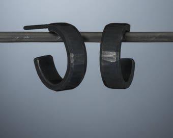 Sterling silver hoop earrings, oxidized black 14x2mm
