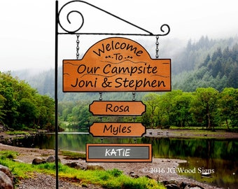 RV Camping Sign - Wooden Name Sign - Campsite Chalkboard  Family Name Sign - JGWoodSigns - Etsy - Personalized RV Sign JoniStephen