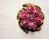 Blush Mauve moss green miniature rose corsage handmade millinery bouquet embellishment