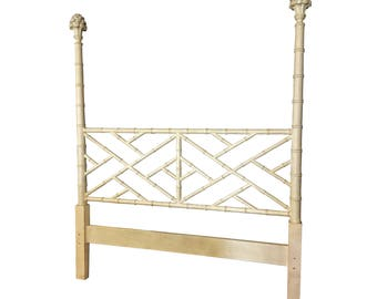 Chippendale Faux Bamboo Queen Headboard High Post Hollywood Regency Fretwork