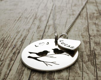 Mother's Day Gifts for Mom - Personalized Family Bird Necklace - Love Birds w/ Small Leaf Charm - Hand Pierced Silhouette by EWDjewelry