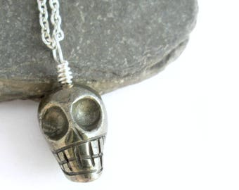 Pyrite Skull Necklace, Mens Jewelry, Fools Gold Stone Choker
