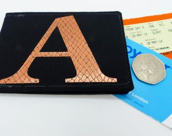 Personalised Oyster card holder, bus pass holder, travel card holder, wallet. Monogrammed wallet. Copper foil initial. Credit Card holder