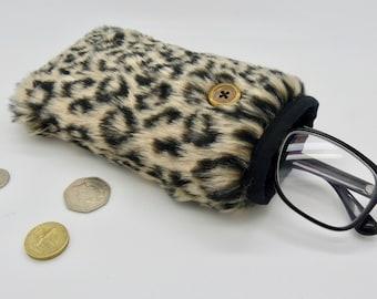 Glasses case. Phone case. Gadget case. Faux fur padded case. Sun glasses case.Mobile phone case. Glasses case.