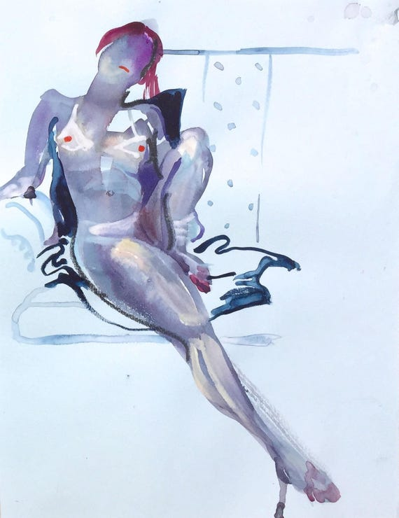 Nude painting- Original watercolor painting of Nude #1431 by Gretchen Kelly