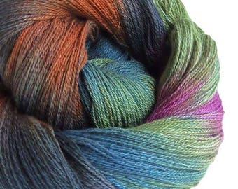 Hand Dyed Yarn Cotton Rayon Yarn Lace Yarn Soft Lace Weight Crochet Thread 834 Yards- Smokey Amber