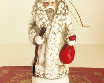 Vintage Santa Claus Ornament 1903  Tree Decoration Ceramic Figure Holiday Decor Collectible Christmas Reproductions Inc