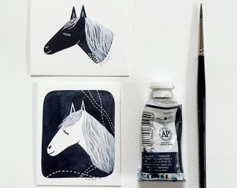 Dreaming Horse 2 - Original Contemporary Monochrome Watercolor Painting - Small Art, Animal Illustration - by Natasha Newton