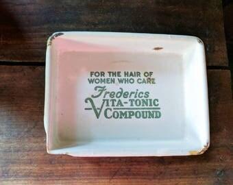 Fredericks Vita-Tonic enamelware tray - 1930s - Vintage advertising - Salon supply