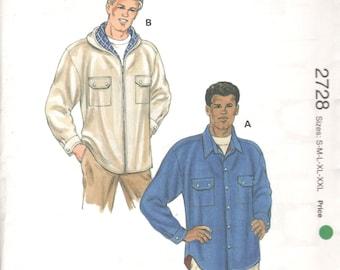 Kwik Sew 2728 Mens Lined Shirt Jacket Pattern Shirttail Hem Hoodie Adult  Designer Sewing Pattern Size SM  M LG Xl XXl Chest 34 - 52 UNCUT
