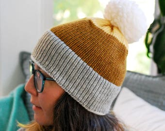 Machine Knit Beanie // Color Block Pattern // Winter Accessory // Soft and Squishy