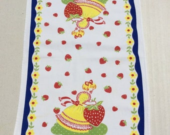 Vintage Towel Strawberry Girl Picks the Biggest One