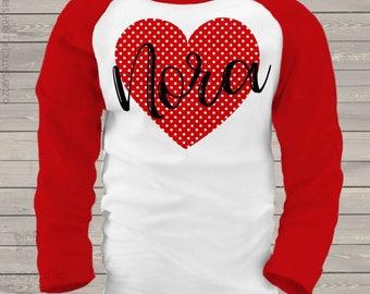 Valentine shirt polka dot red heart personalized valentine day raglan Tshirt - adorable Valentine's Day shirt  snlv-038-r