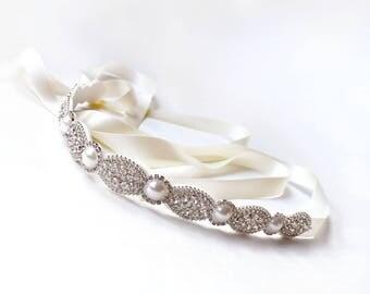 Sash - Thin Pearl and Marquise Rhinestone Bridal Belt - Custom Satin Ribbon - Silver Rhinestone Pearl Appliqué - Wedding Dress Belt