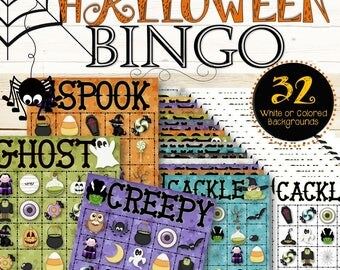 32 Halloween Bingo Cards - INSTANT DOWNLOAD