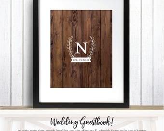 Rustic Wedding Guestbook, Wooden Faux Wedding Guestbook, Unique Rustic Wedding Guestbook, Wedding Guestbook Alternative /W-G29-1PS REG1 AA3
