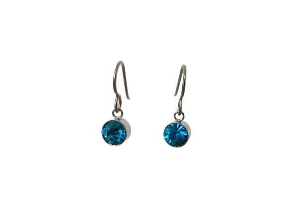 Blue zircon dangle earrings - Pure titanium, stainless steel and zircon