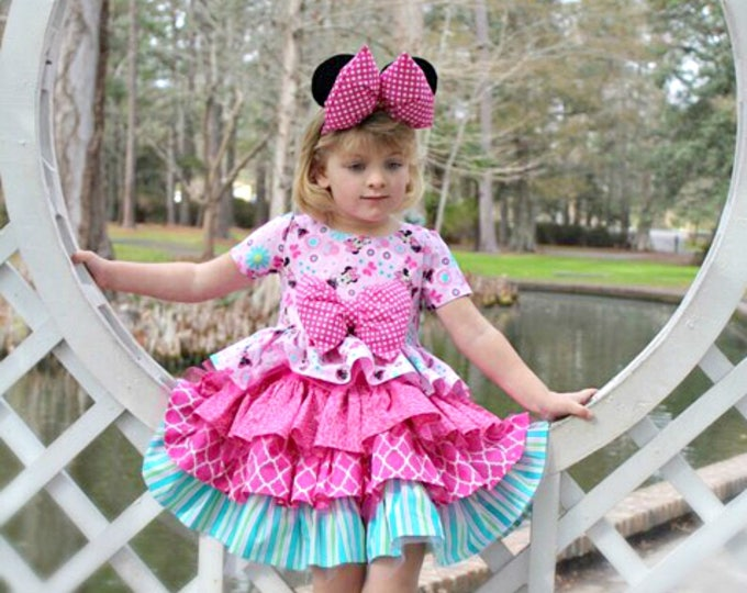 Twirl Dress - Minnie Mouse Dress - Birthday Party Outfit - Pink Ruffle Dress - Minnie Mouse Ears - Disney Vacation - Toddler -  6 mo - 8 yrs