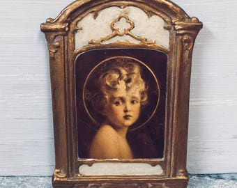 Antique Gesso Plaque Infant Baby Jesus Light of the World Charles Bosseron Chambers 6 x 8