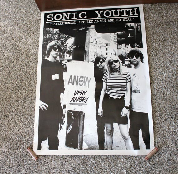 Vintage Early 1990s Sonic Youth Promo Poster UK Printed, Alt Rock Band