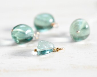 fluorite pendant necklace. 14k gold filled chain. natural freeform fluorite pebble necklace. green blue fluorite pendant. choose your size