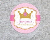 Personalized Princess Party Circles, Tags or Stickers – 2, 2.5 or 3 Inch Circle – DIY Printable – Princess Crown  (Digital File)