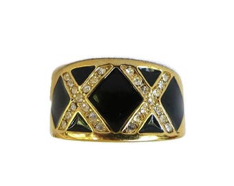 Black Enamel & Clear Rhinestones XX Band Ring Vintage Size 7.75