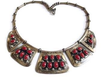 Navajo Sterling Silver and Red Coral Bib or Breast Plate Necklace Vintage signed Joanne C. Juancho - JCJ