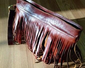 Leather Fringe Bag, Boho Fringe Bag, Festival Bag, Brown Leather Fringe Clutch, Leather Fringe Wristlet, BoHo Chic Leather Bag, Leather Bag