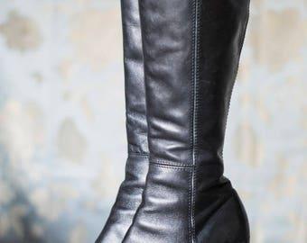 vintage 90s black leather knee high block heel boots UK6 EUR39