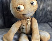 "10"" Tea baby doll moving eyes and zipper tummy feed sack baby by Karen Knapp of Tindle Bears"