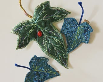 Ivy Leaf Hair Clips Set of Three Green and Blue Botanical Woodland Hair Accessory Textile Art Plant Nature Lover