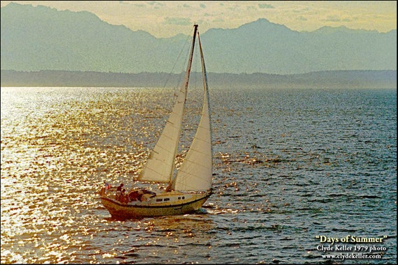DAYS OF SUMMER, impressionist sailboat, Clyde Keller photo, 1979
