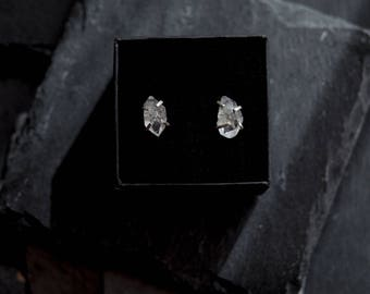 Herkimer Diamond Earrings in  Sterling Silver / Birthday Gift, Unique Diamond Earrings / Herkimer Diamond Studs / April Birthstone