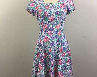 Vintage 90s Summer Floral ROSES Jersey Mini Dress Grunge S