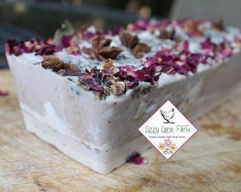 Soap Cake- Summer Forest:lavender, hydrangea, with touches of ozone, fresh fern and vanilla bean | Whole Soap Cake | Soap Loaf |Ready to cut