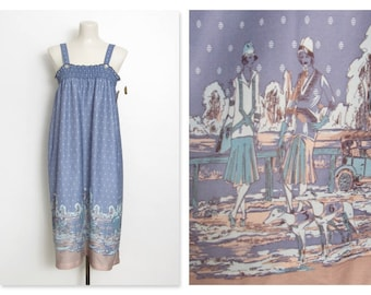 Vintage 1970s Sundress / Blue Sleeveless Novelty Print / Smocked Dress w/ Original Tags / New Old Stock