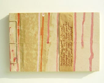 Artist's Sketchbook, Red and Pink Drips, Stab Bound with Up Cycled Materials and Hand Painted Cover