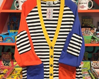 80's Color Block Striped Cardigan by Chaus Sport