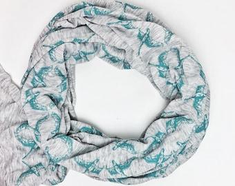 Bundle Up Swan Pattern Scarf- Hand Printed (Aqua)